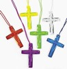 Plastic Bright Color Crystal Cross Necklaces